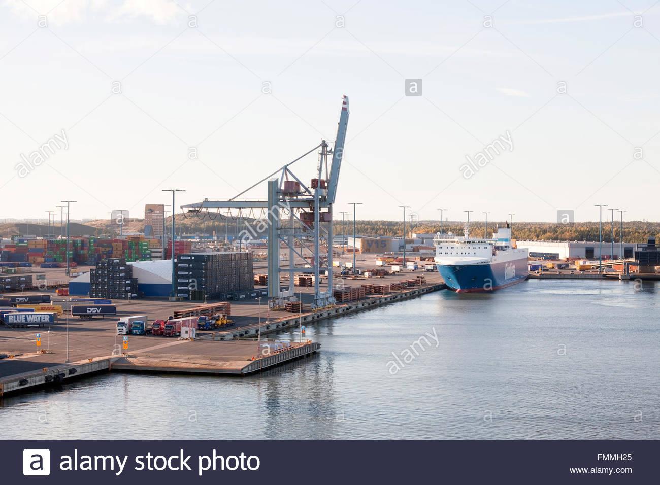 Finnsky freighter at Vuosaari Harbour - Stock Image