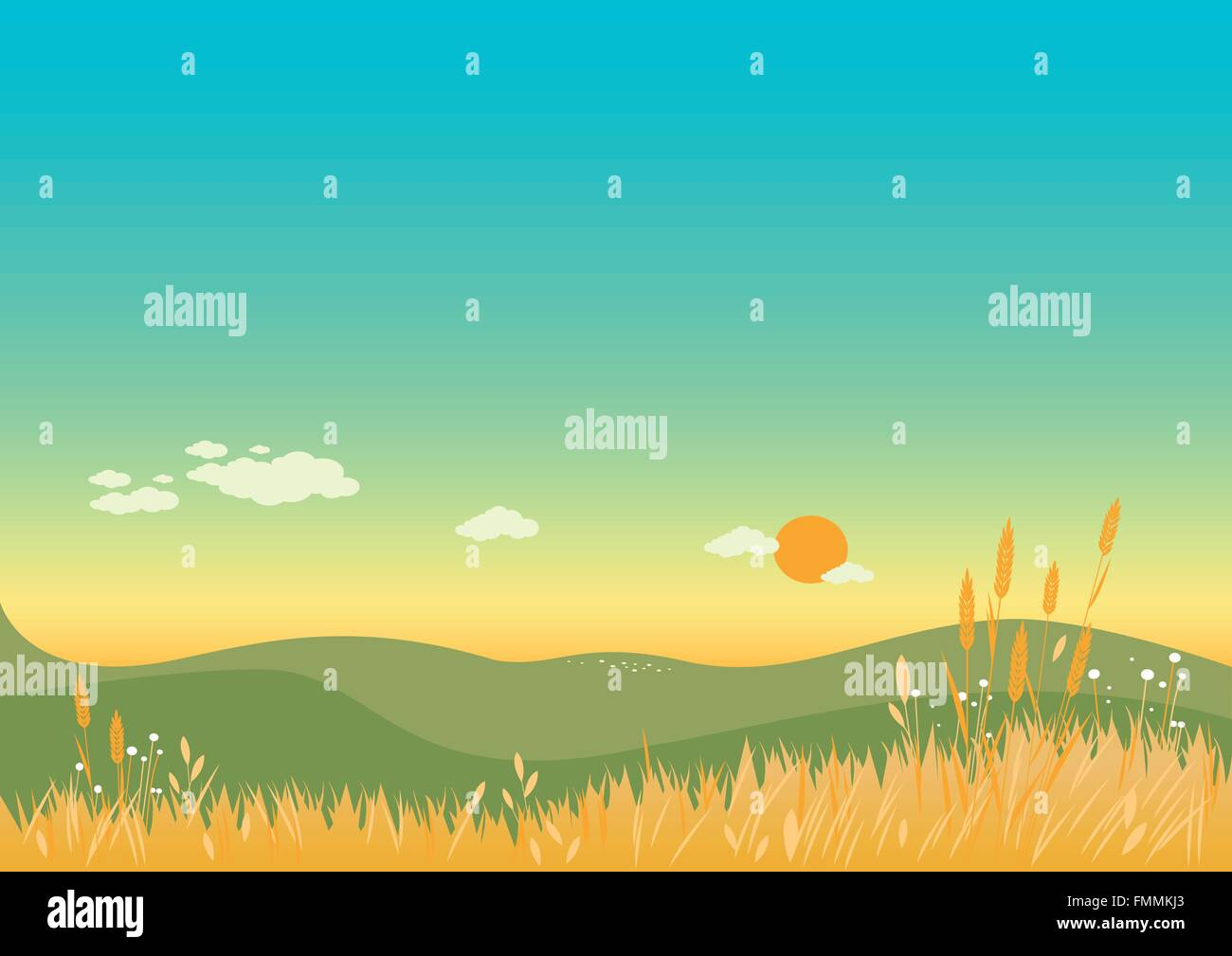 Summer landscape with flowers, wheat and grass. - Stock Vector