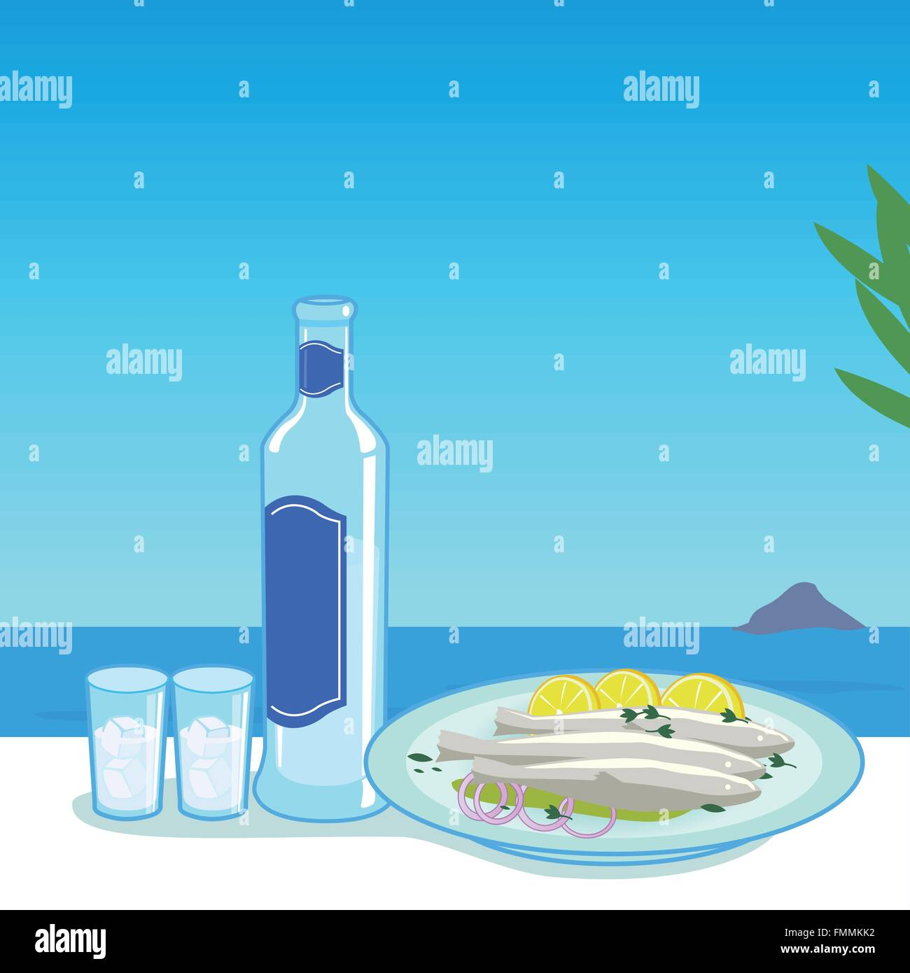 A bottle of ouzo and a dish with cooked fish in a table next to the sea. - Stock Vector