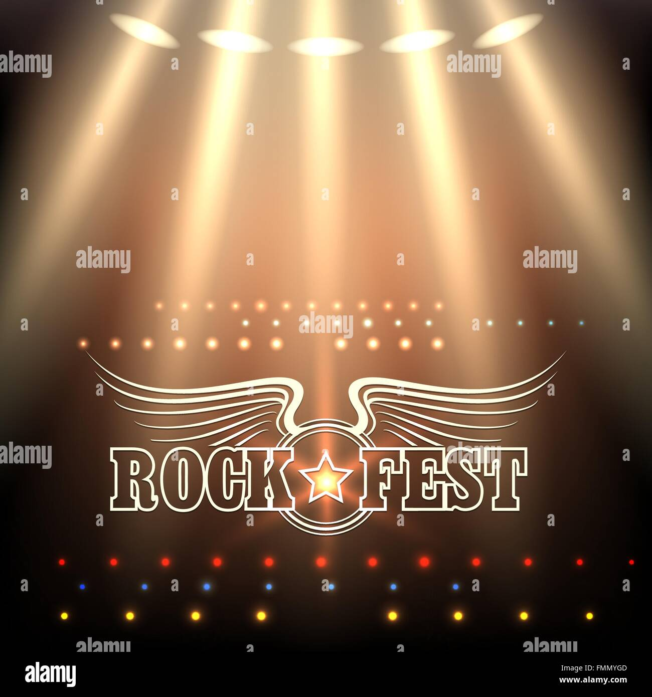 rock festival poster template stage in spotlights and wording rock