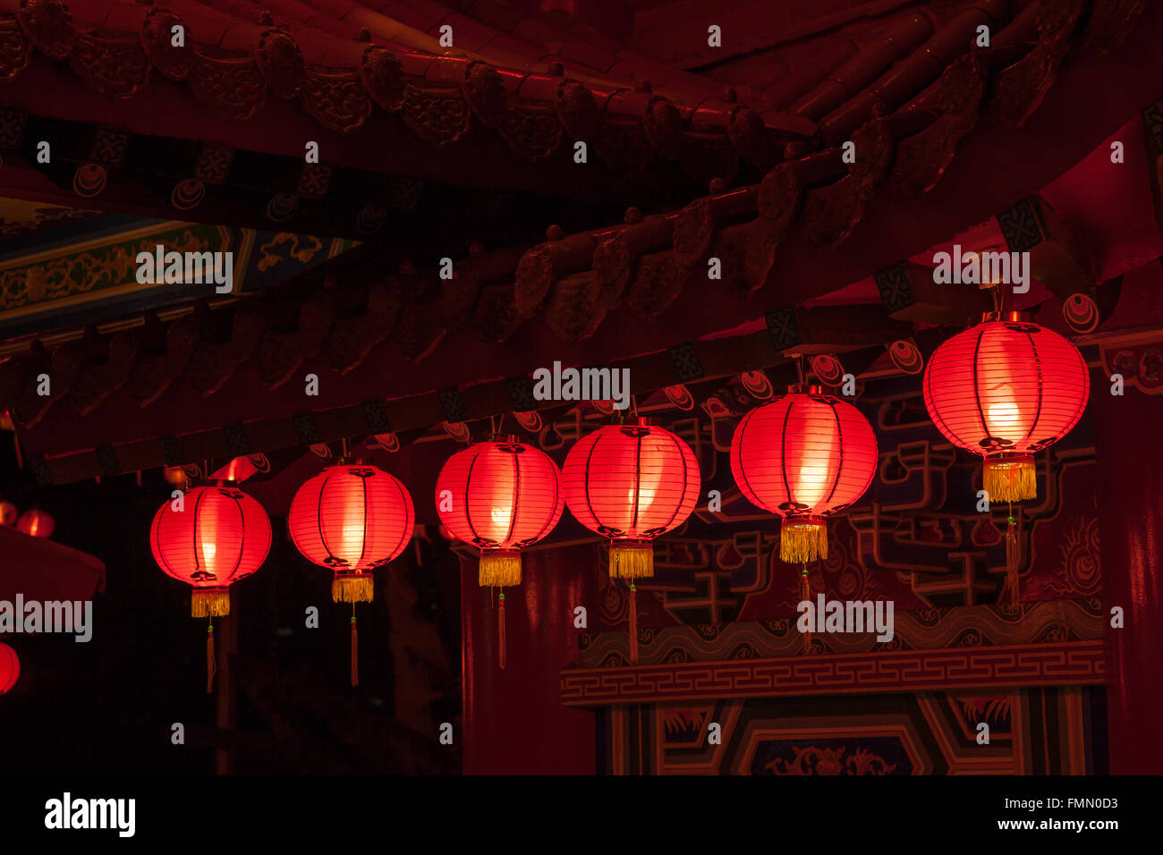 Red lanterns hanging in rows during chinese lunar new year at Thean Hou Temple, Kuala Lumpur, Malaysia - Stock Image
