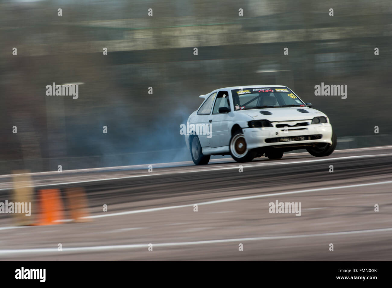 Corby, UK. 12th Mar, 2016. Ford Escort drift car during Drift Matsuri at Rockingham Motor Speedway on March 12, 2016 in Corby, Northamptonshire, ...