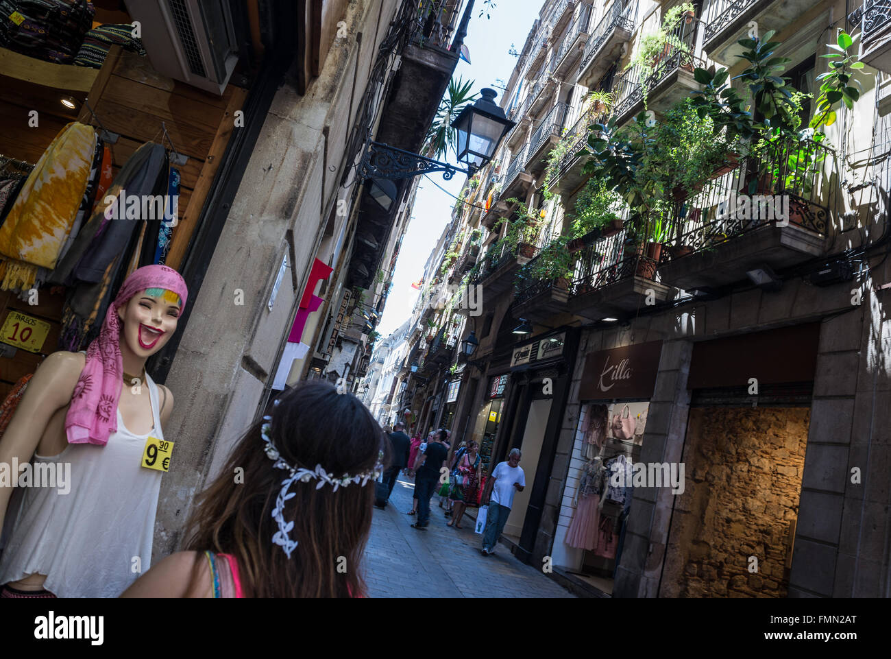 cf7bc5f90 funny mannequins in front of clothes store in Gothic Quarter, Ciutat Vella  district in Barcelona, Spain