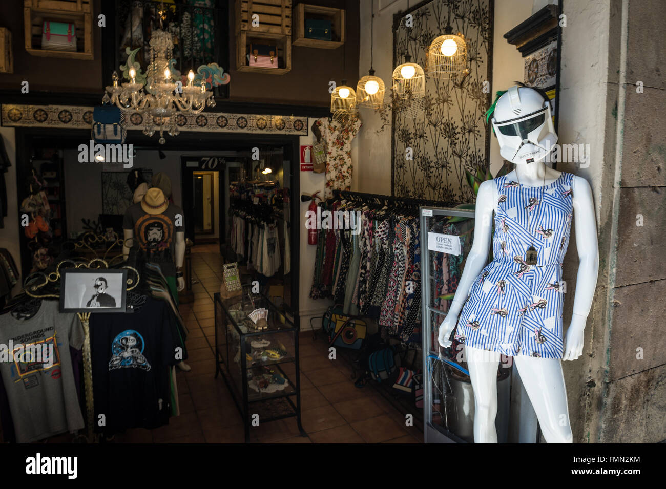db9629990 Funny manikin in clothes shop in Barcelona, Spain Stock Photo ...