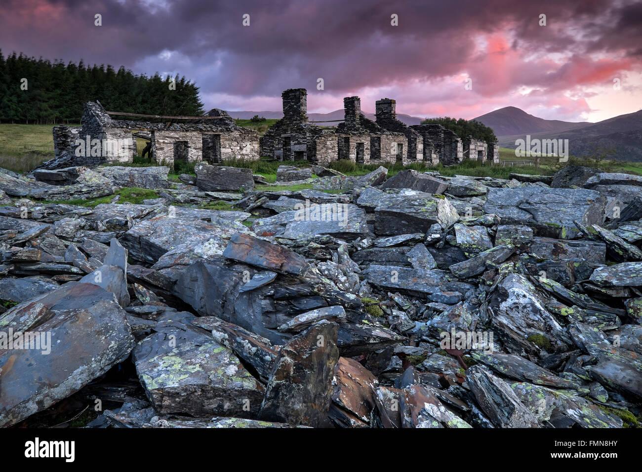 Rhos Barracks at Sunrise, Rhos Quarry, Moel Siabod, Snowdonia, North Wales, UK - Stock Image