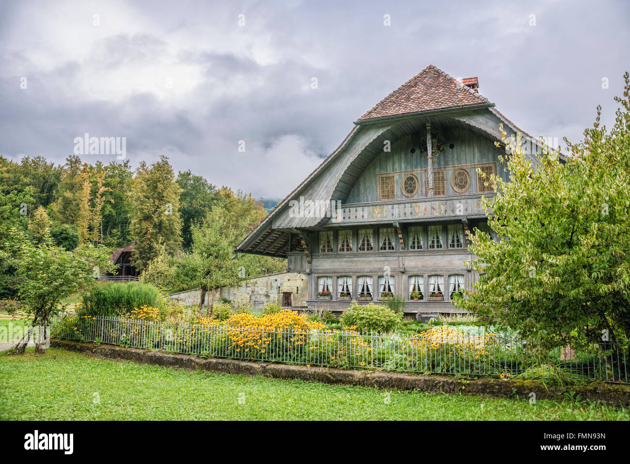 Farmhouse of Ostermundingen, Open Air Museum Ballenberg, Switzerland | Farmhaus von Ostermundingen, Freilichtmuseum - Stock Image