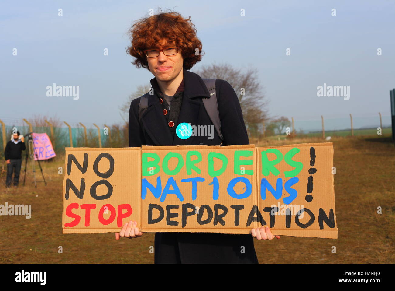Bedfordshire, UK. 12th March, 2016. Thousands of demonstrators gathered at Yarl's Wood Detention Center to demand - Stock Image