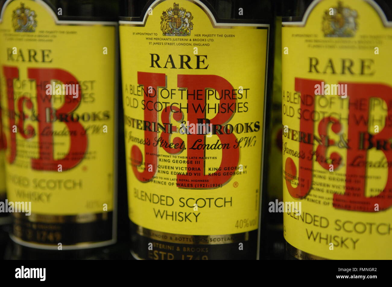 Close up of Blended scotch whiskey J&B, purest old scotch of all whiskies Stock Photo