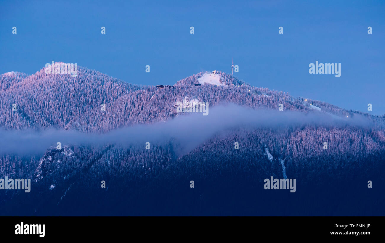 Scenic Winter Wintry Snowy Snow Capped View Grouse Mountain North Shore Mountains Vancouver Canada