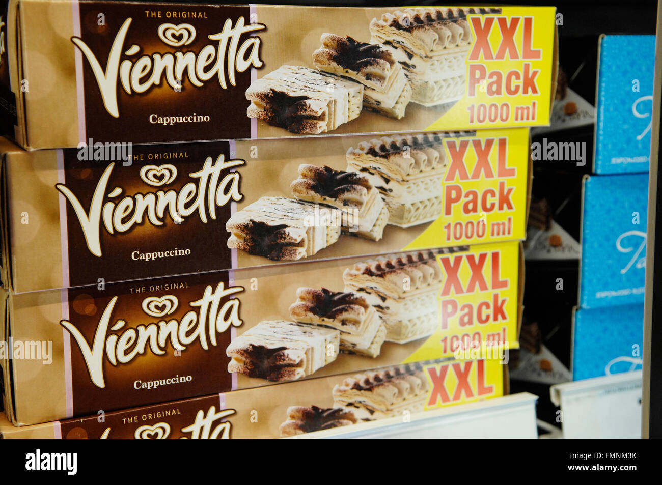 Viennetta ice cream 1000ml packs produced by the Unilever company. - Stock Image