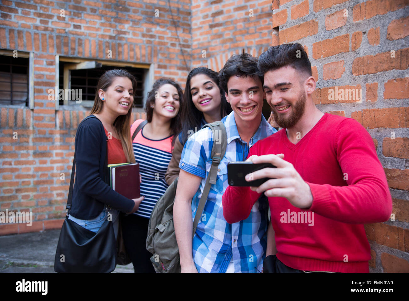 Five college students - Stock Image
