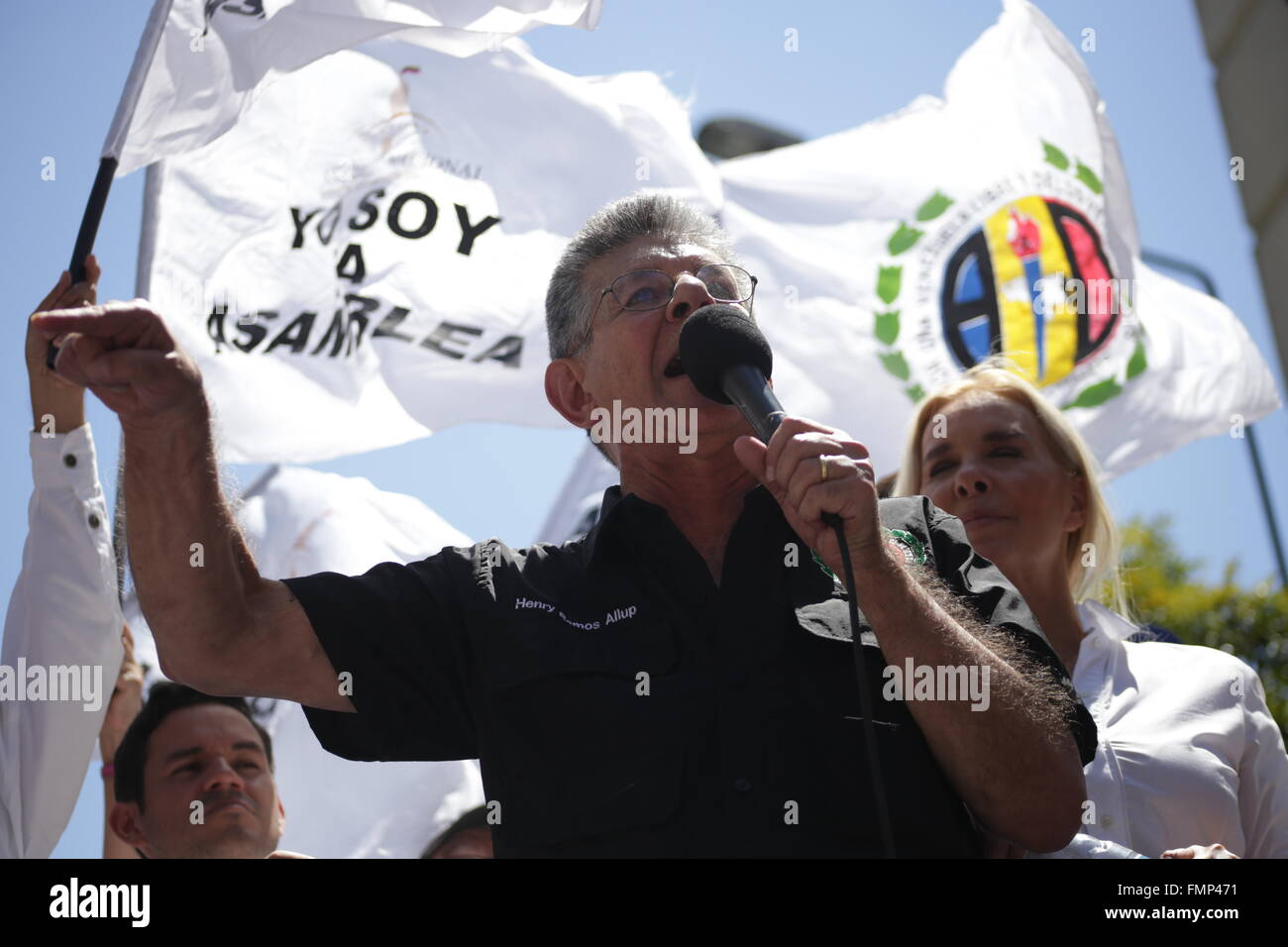 (160313) -- CARACAS, March 13, 2016 (Xinhua) -- Henry Ramos Allup, President of Venezuela's National Assembly - Stock Image
