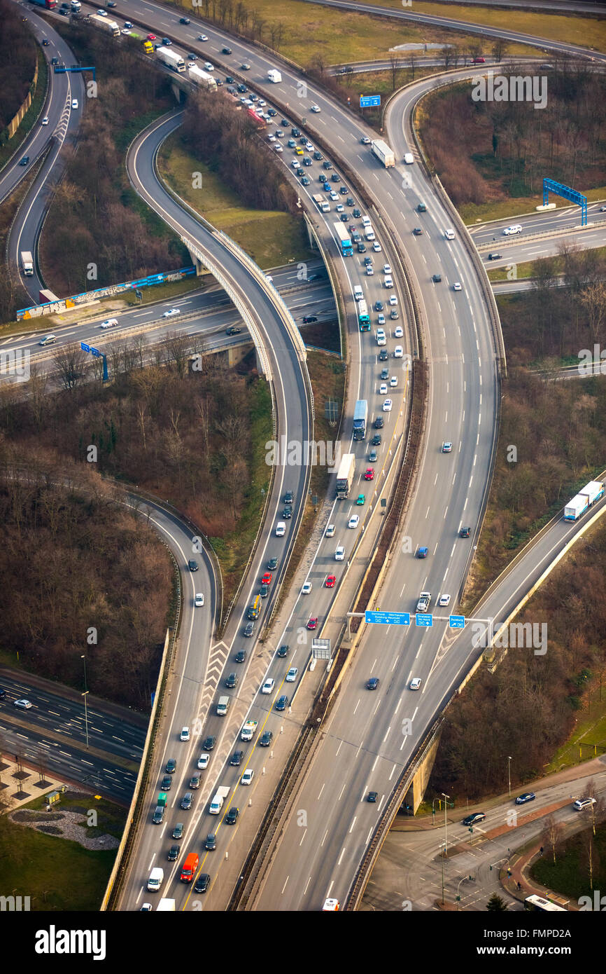 Traffic and congestion on the A42 motorway, transport infrastructure, Duisburg, Ruhr district, North Rhine-Westphalia, - Stock Image