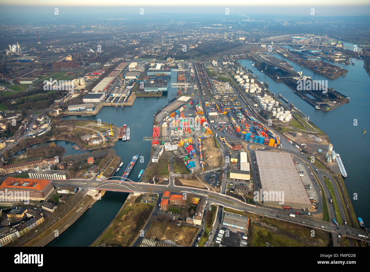 Duisburg harbor, bridge over Vinckekanal canal, inland water transport, Duisburg, Ruhr district, North Rhine-Westphalia, - Stock Image