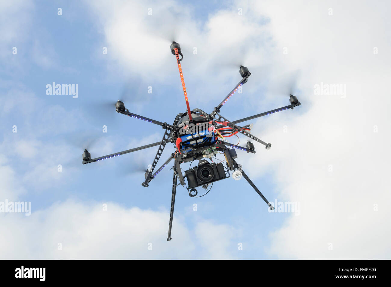 Oktocopter, drone, multicopter, flying with camera, North Rhine-Westphalia, Germany - Stock Image