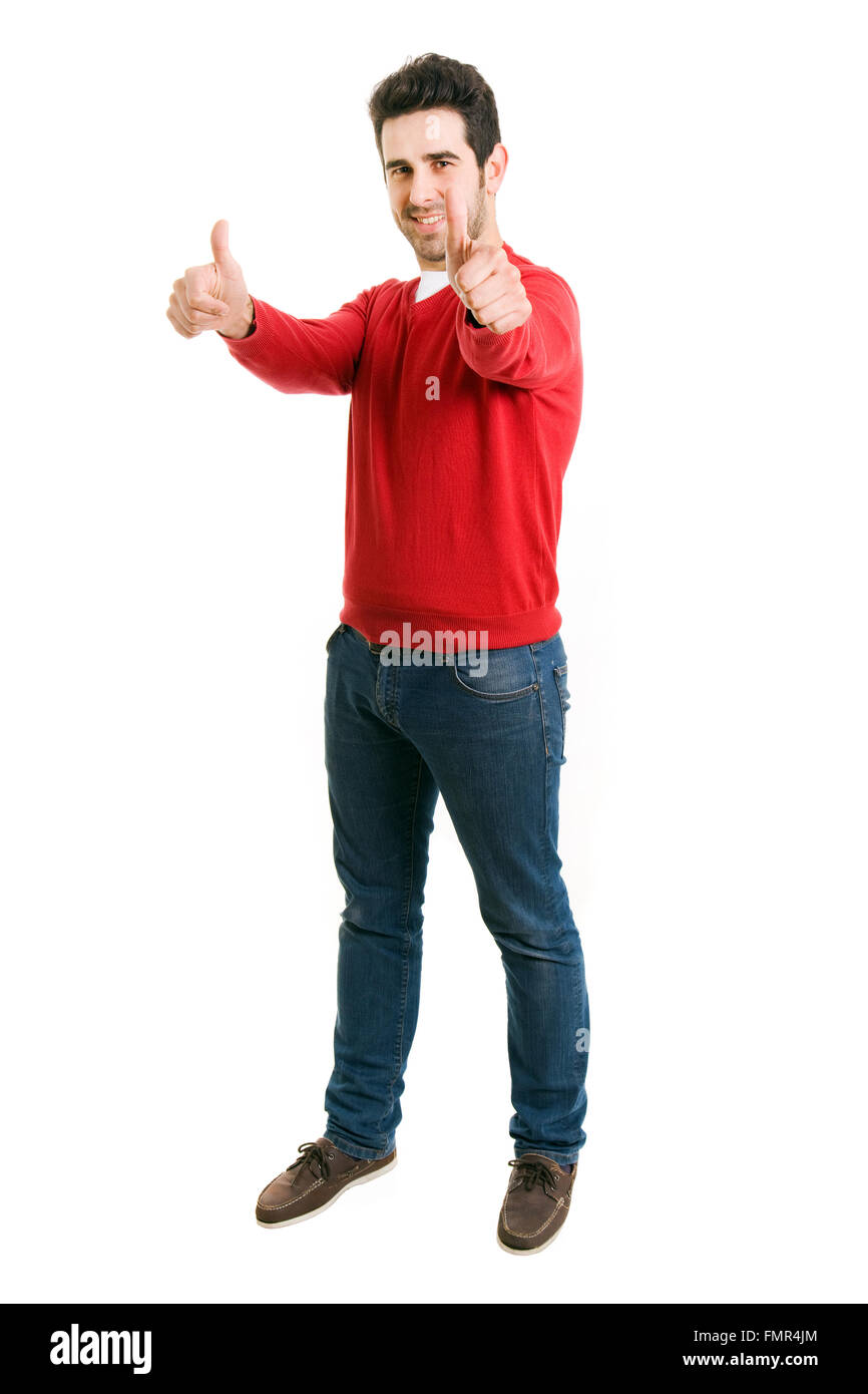 b08f917a68d young casual man full body thumbs up