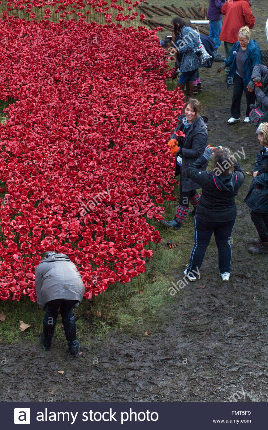 Some of the 8.000 volunteers participating in the dismantling of the Blood Swept Lands and Seas of Red exhibit, - Stock Image
