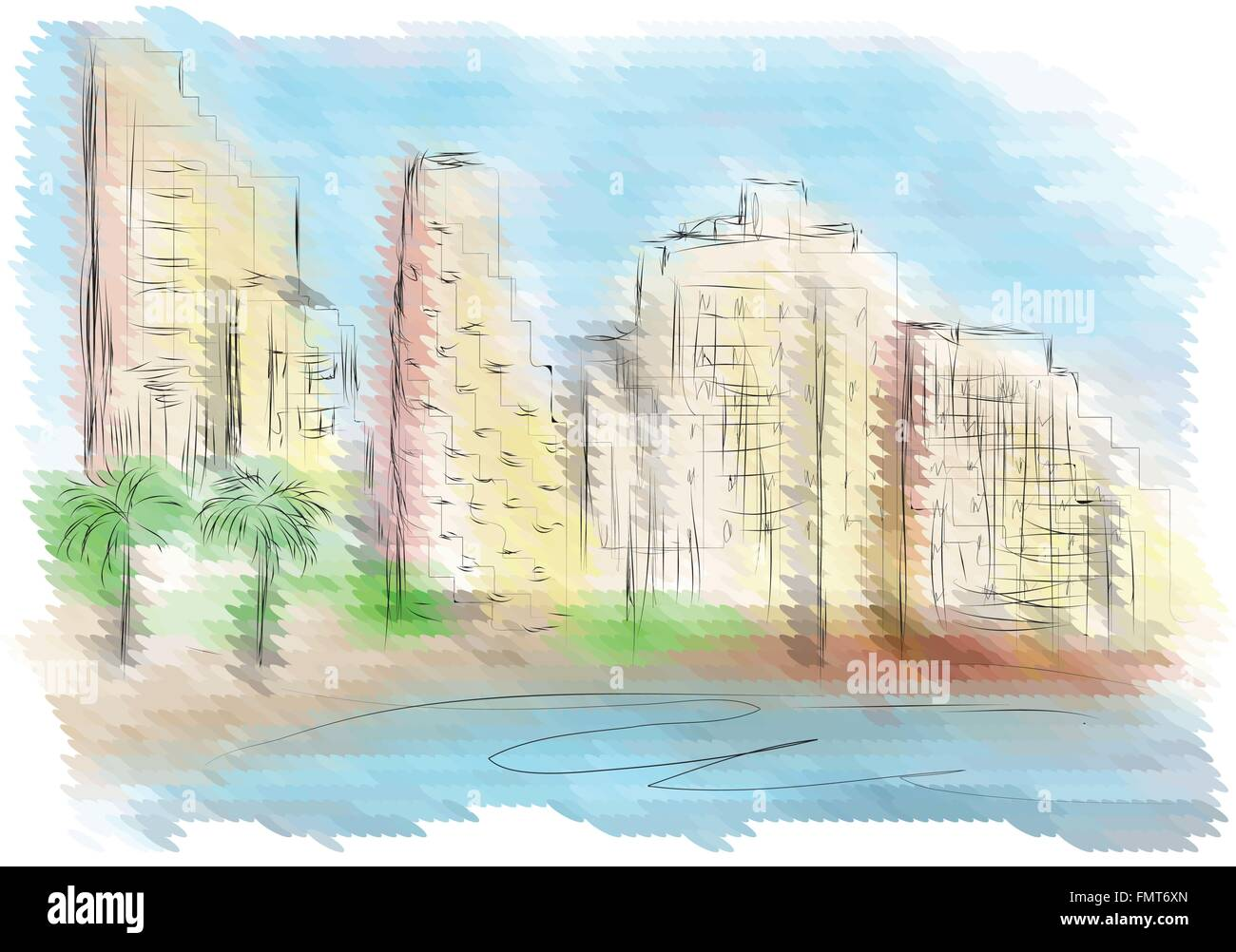 Tel Aviv. abstract city on multicolor background - Stock Image