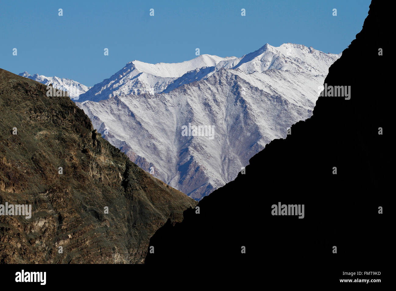 Lights and shadows in Himalayan mountains in Ladakh, India. Hemis High Altitude National Park. - Stock Image