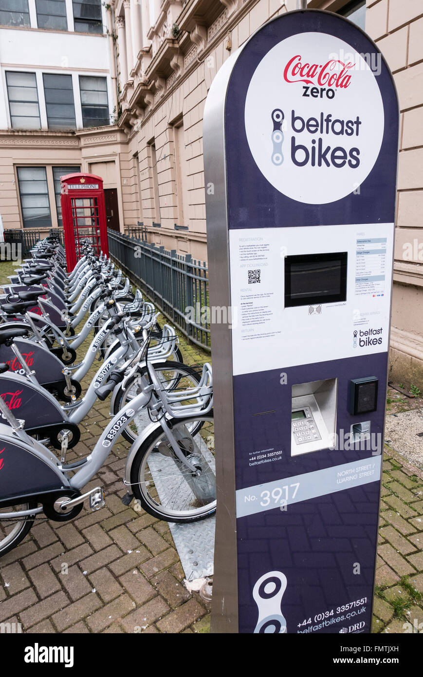 Belfast Bikes - bicycles available for short term rental by residents and visitors. - Stock Image