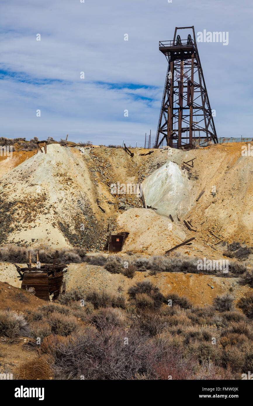 Shaft gantry at an old silver mine in Silver City, Nevada - Stock Image