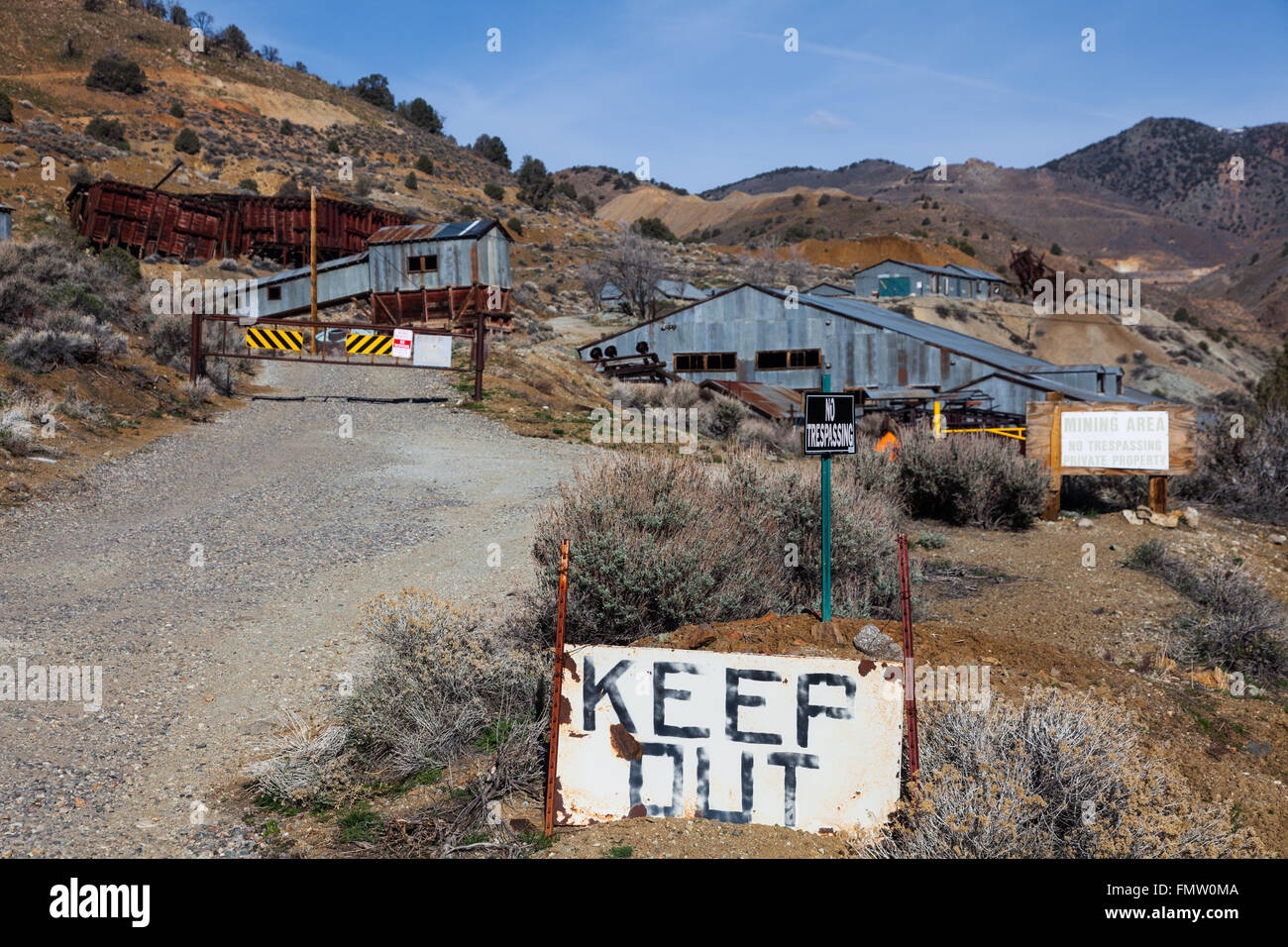 Abandoned silver mine in the community of Silver City, Nevada - Stock Image
