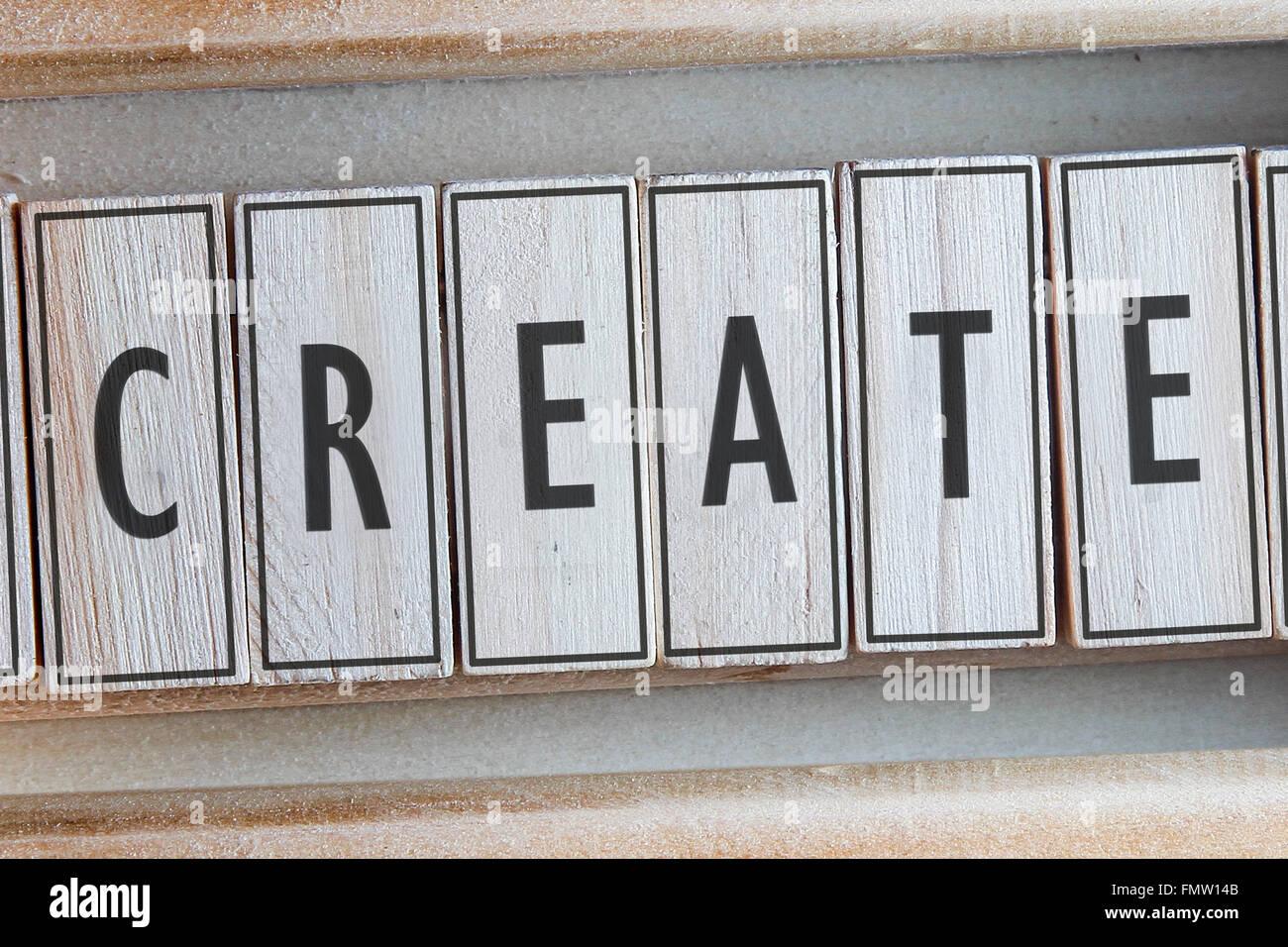 Create word written on wood - Stock Image