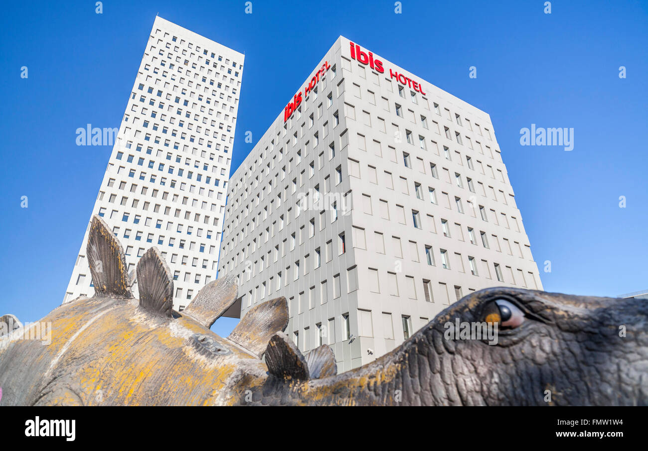 Ibis Hotel and dino.Santa Coloma de Gramenet, Catalonia, Spain. - Stock Image