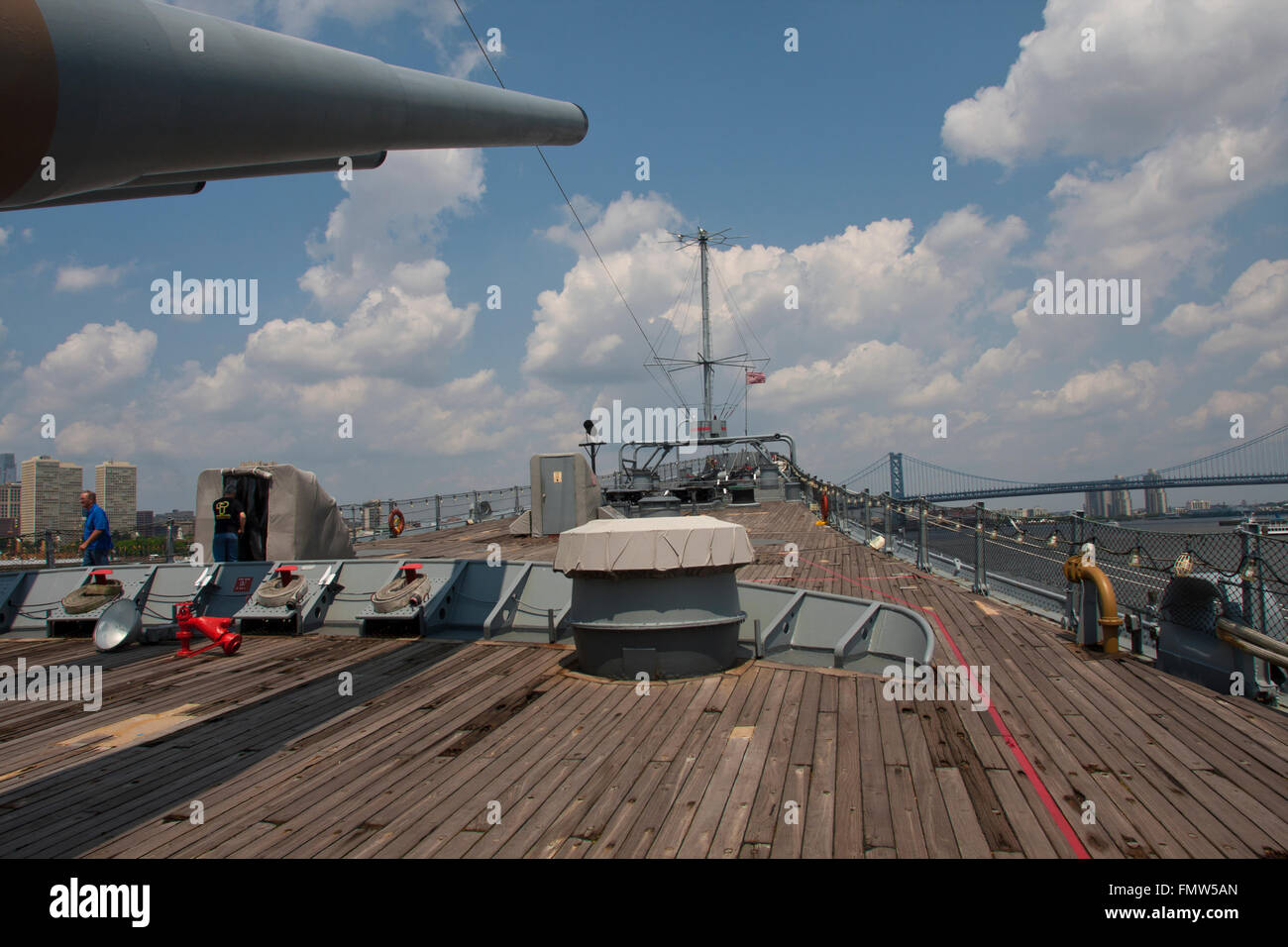 The battleship New Jersey, build in 1942 and stricken in 1999. This image shows the ship's 16' guns and - Stock Image