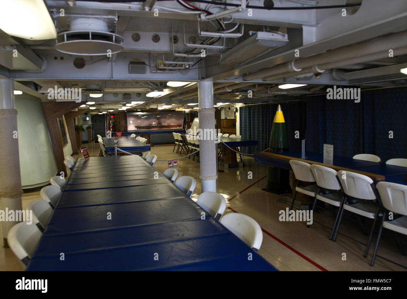 The battleship New Jersey, build in 1942 and stricken in 1999. This image shows dining facilities below decks, - Stock Image