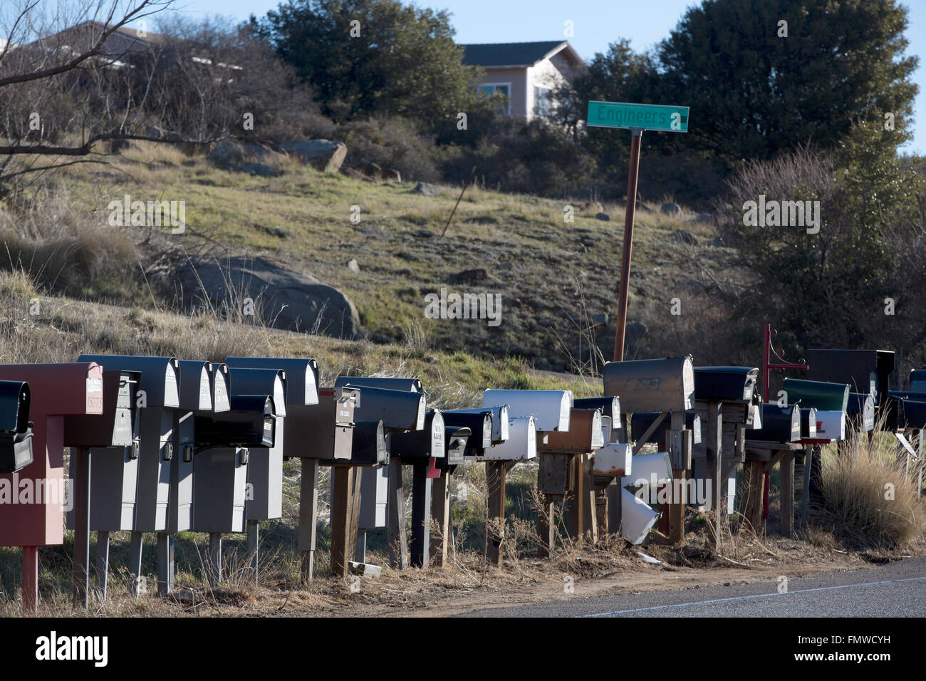 Mailboxes, Julian, California, USA - Stock Image
