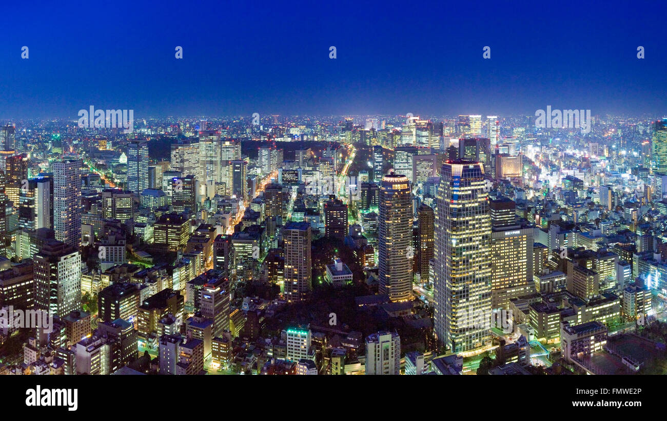 Evening cityscape of north east Tokyo from Tokyo Tower - Stock Image