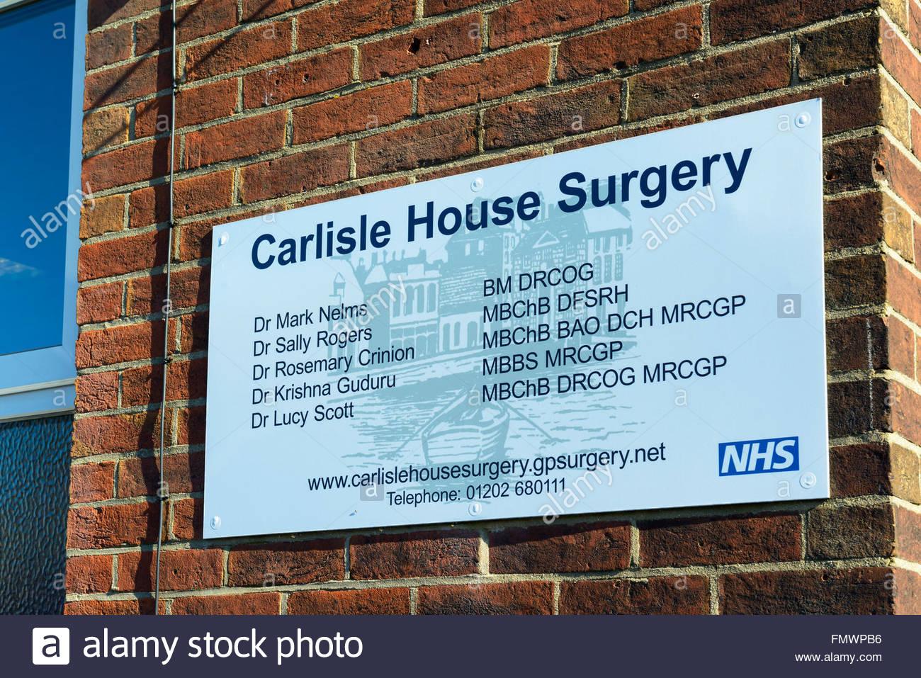Carlisle House NHS Surgery sign, Poole, Dorset, England, UK - Stock Image