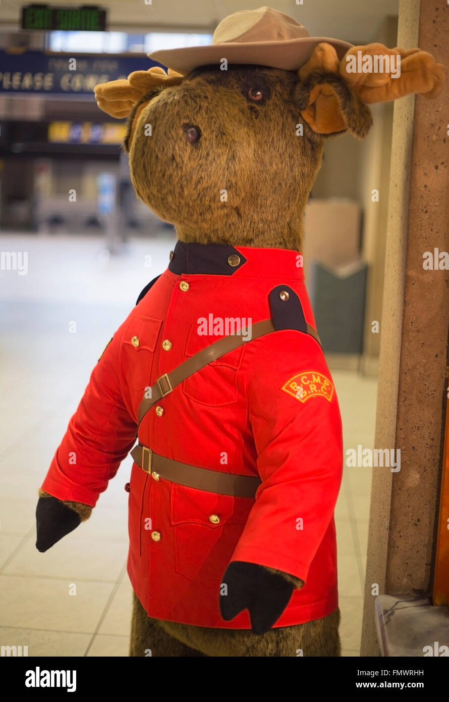 Moose dressed as a Canadian Mountie at Calgary airport - Stock Image