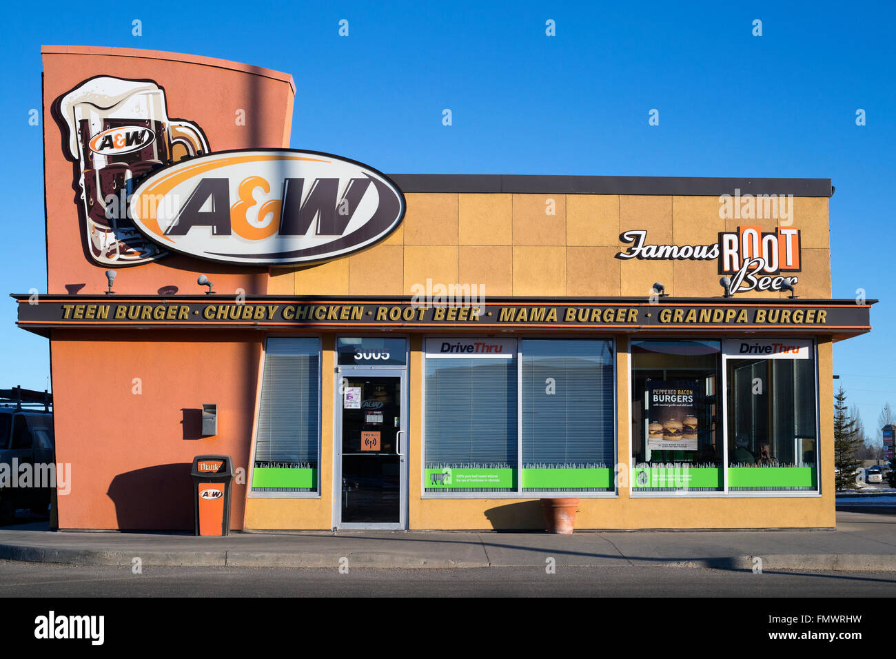 A&W fast food outlet in suburban mall Stock Photo