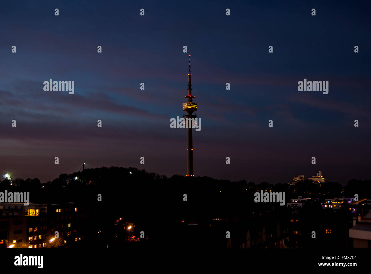 Olympic  tower Munich at sunset - Stock Image