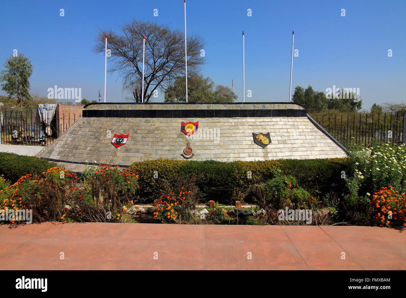 Pulkanjari war memorial honoring the Indian heroes who fought there in the war between India and Pakistan in 1971. - Stock Image