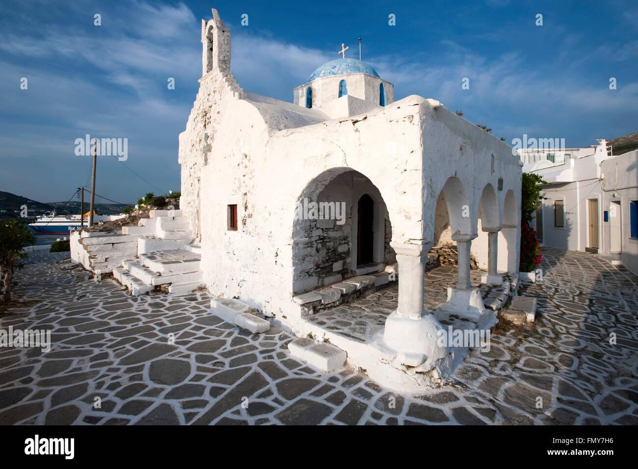Griechenland, Kykladen, Paros, Parikia, im Kastro-Viertel, Doppelkapelle Agios Konstantinos und Evangelistrias - Stock Image