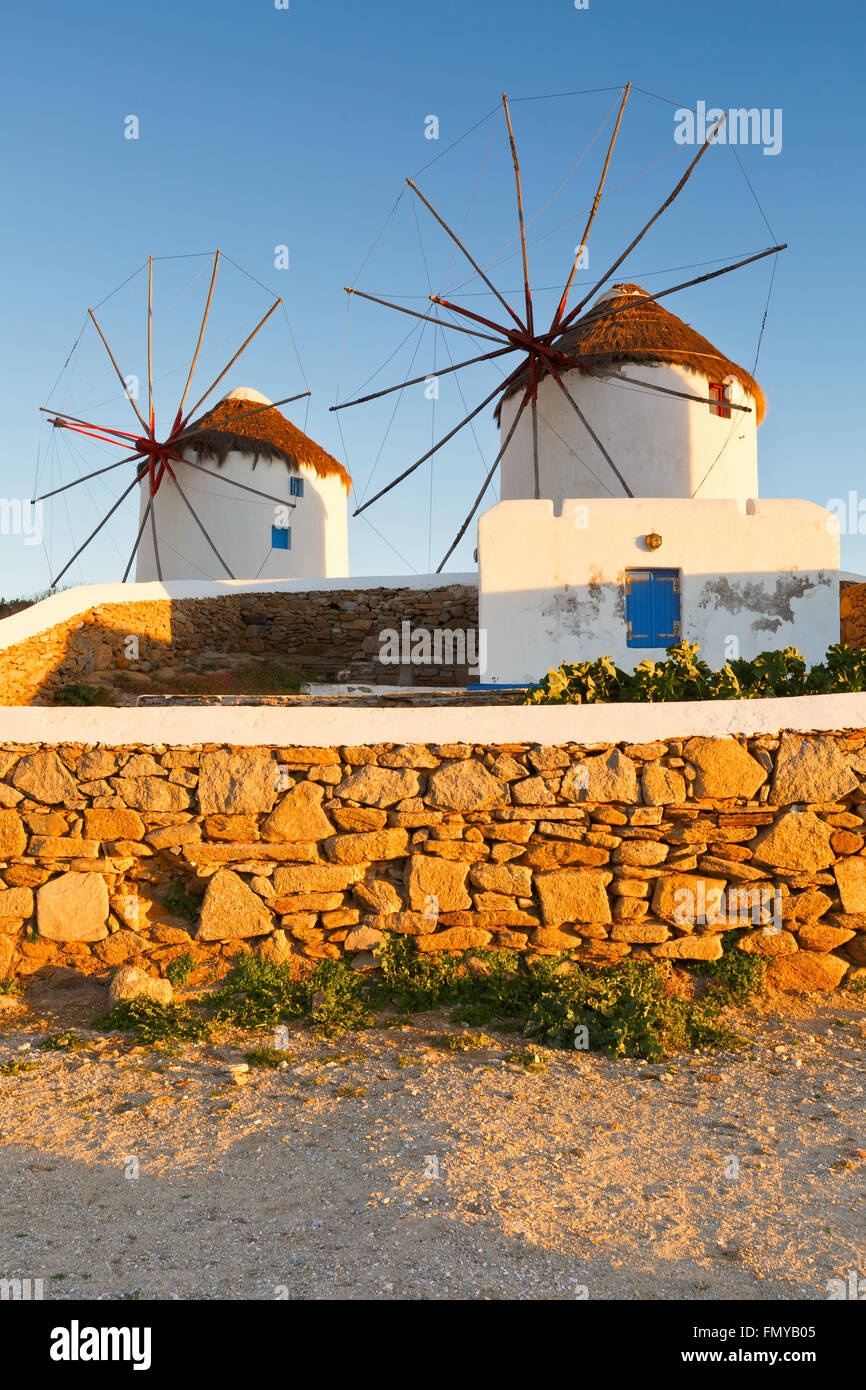 Traditional windmills in the town of Mykonos, Greece. - Stock Image