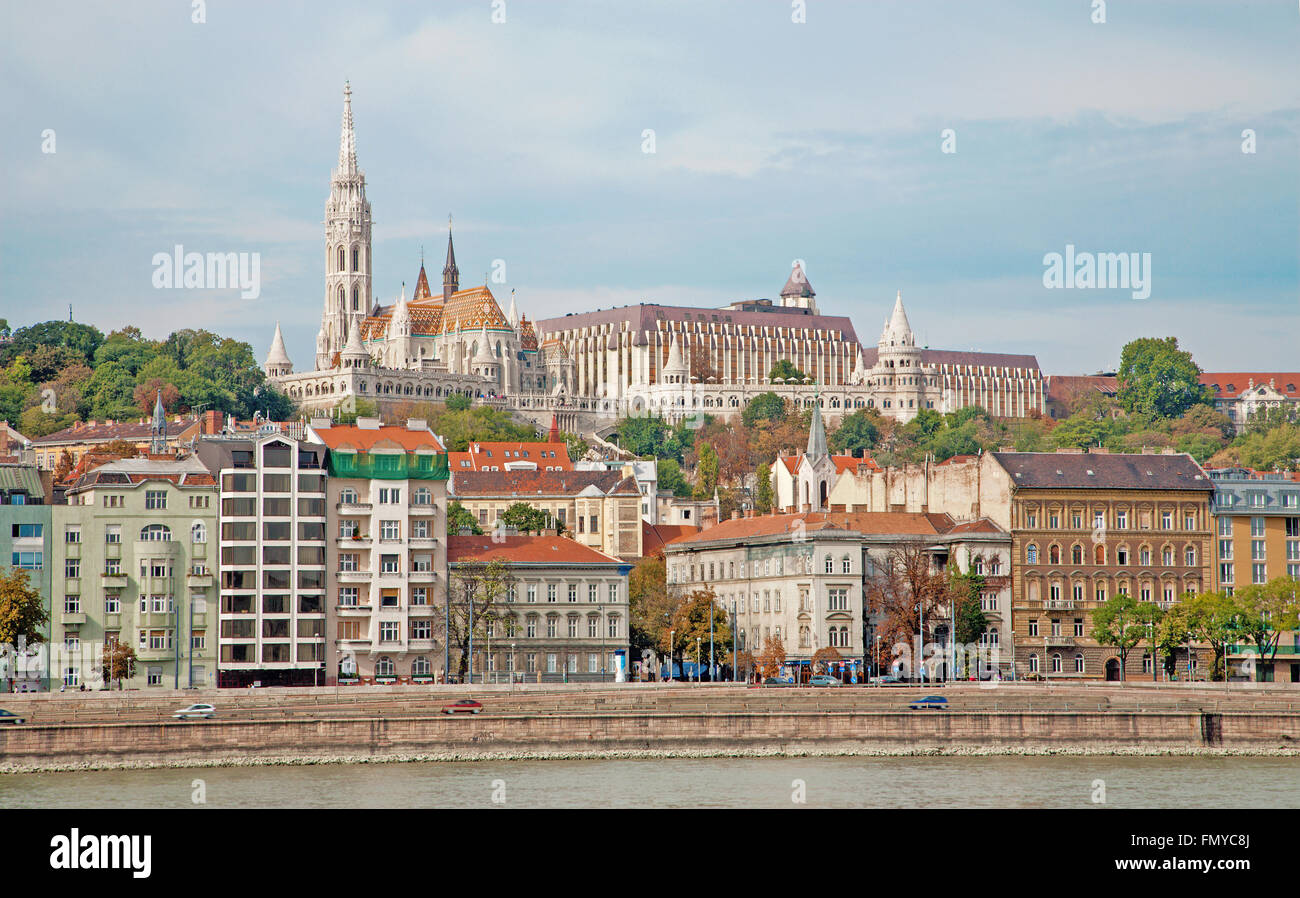 Budapest - St. Matthew's Cathedral over Danube Stock Photo