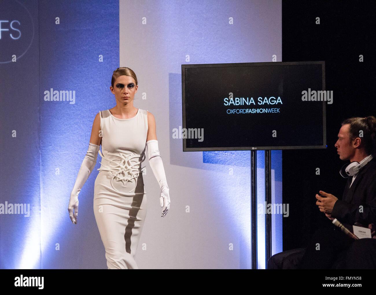 Oxford,Uk 12th March 2016. Sabina Saga Wedding Collections during the Oxford Fashion week run way show Credit: Pete - Stock Image