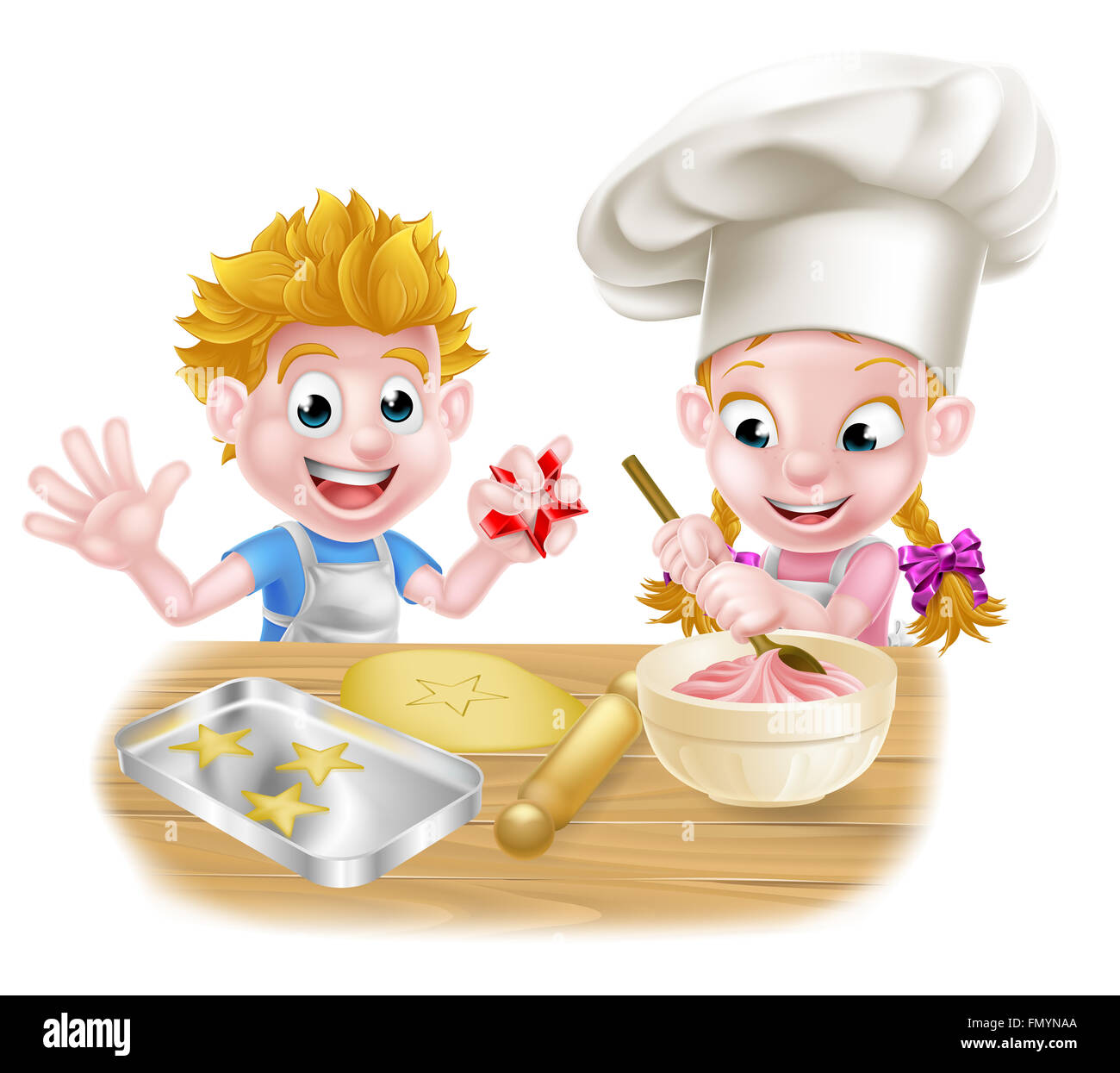Cartoon Chef Kids Baking And Cooking Desserts In The Kitchen Stock Photo Alamy