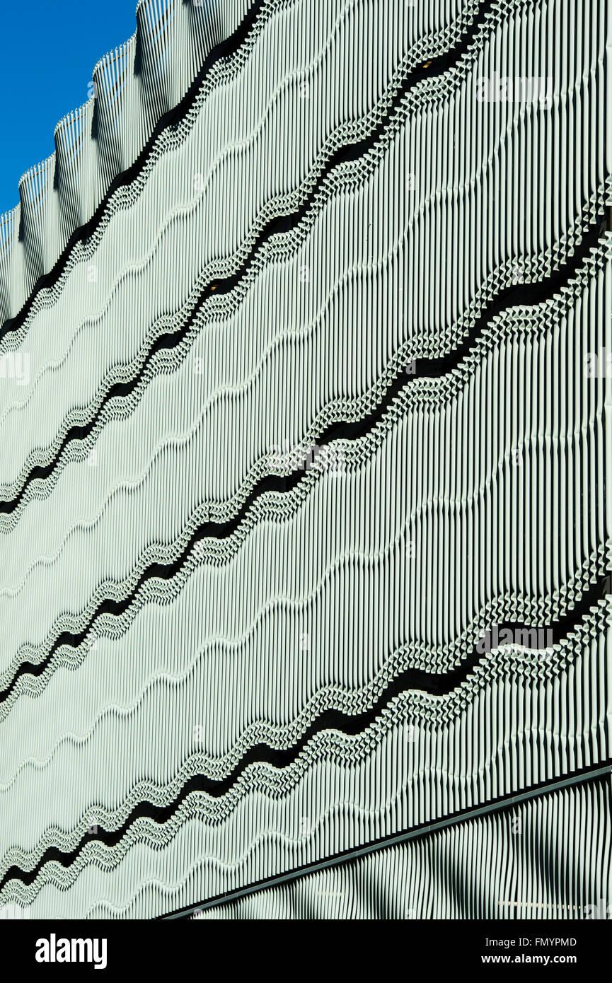 Wavy steelwork architecture on the multi Story car park in Milton Keynes, Buckinghamshire, England - Stock Image