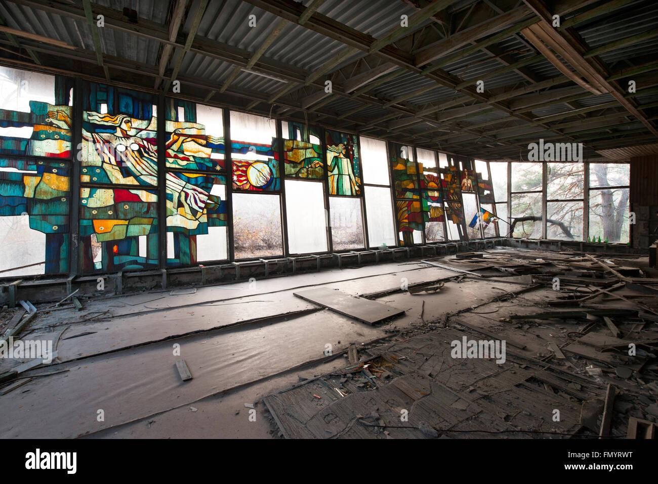 Dining area in Pripyat, Chernobyl scene of 1986 nuclear disaster - Stock Image