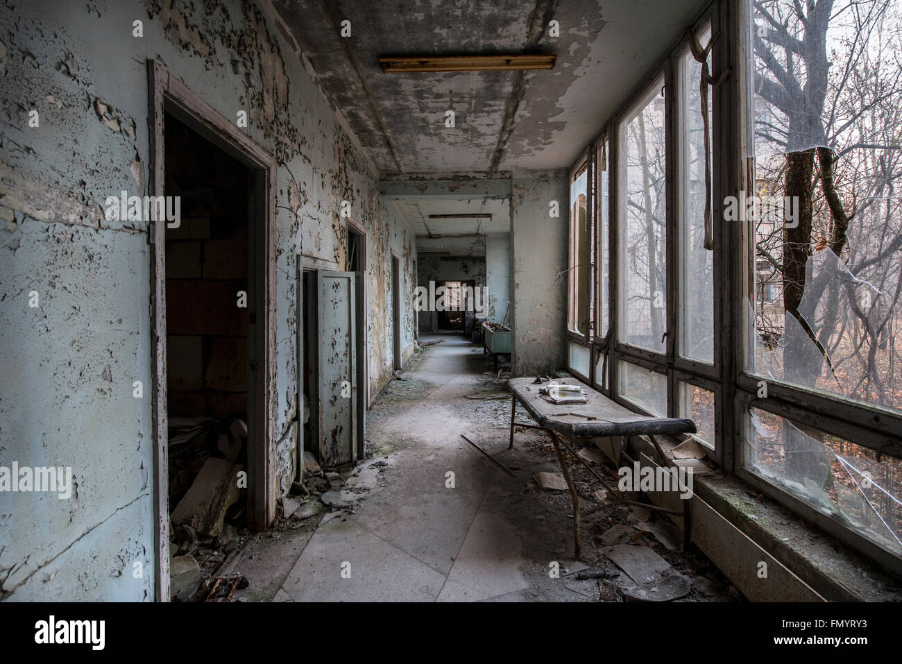 Hospital corridor in Pripyat, Chernobyl scene of 1986 nuclear disaster - Stock Image