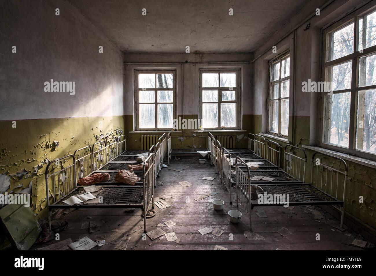 Childrens dormitory in Kindergarten in Pripyat, Chernobyl scene of 1986 nuclear disaster - Stock Image