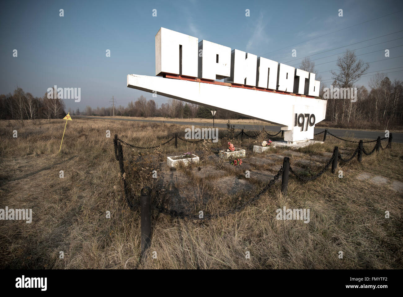 Welcome sign in Pripyat, Chernobyl scene of 1986 nuclear disaster - Stock Image