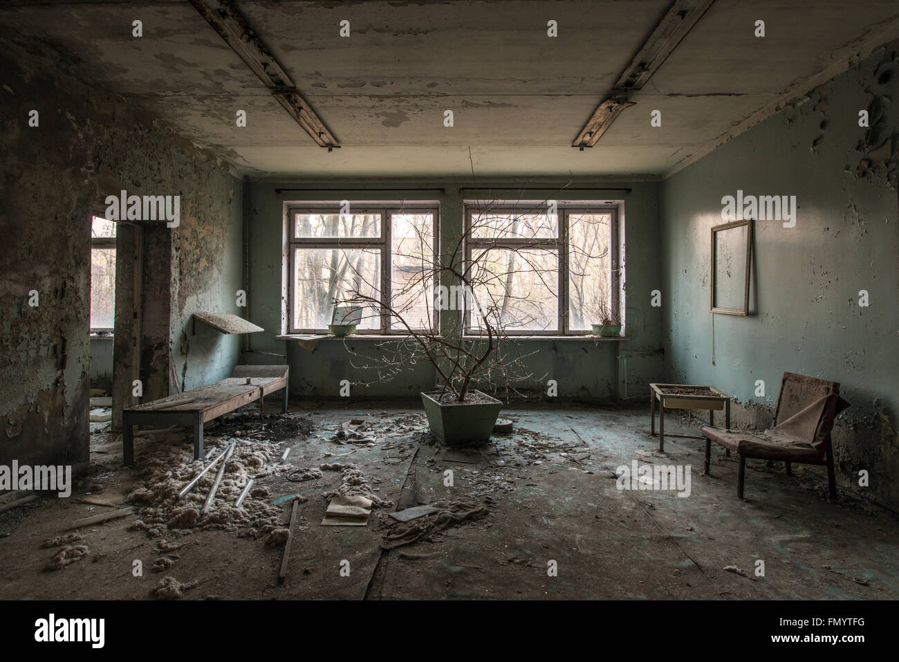 Hospital waiting area in Pripyat, Chernobyl scene of 1986 nuclear disaster - Stock Image