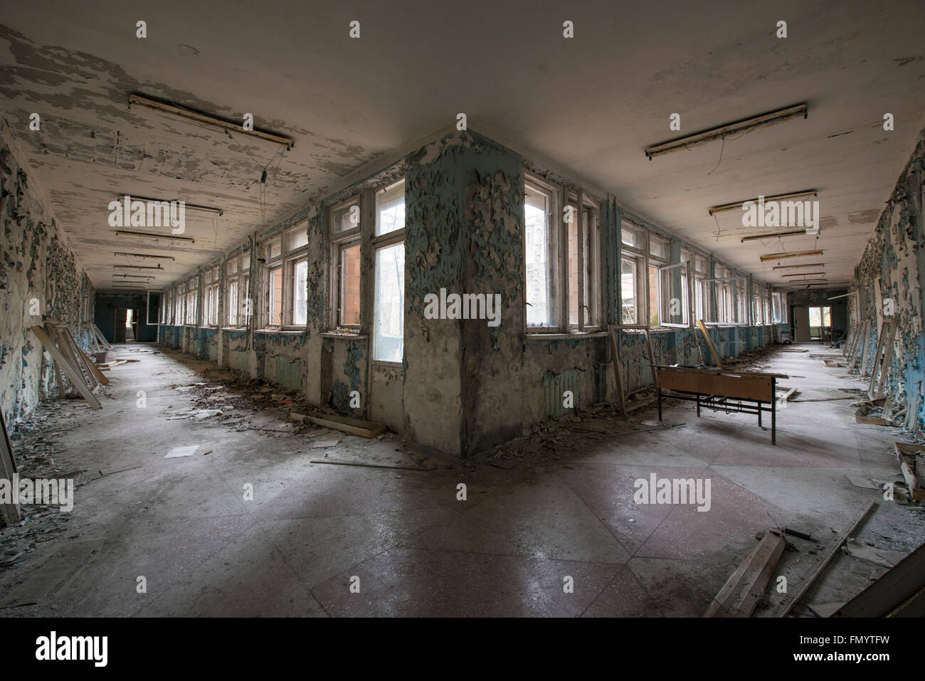 Corridor in elementry school in Pripyat, Chernobyl scene of 1986 nuclear disaster - Stock Image