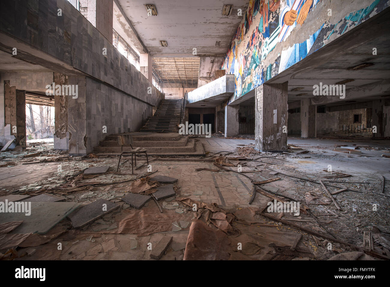 Grand Hall in Pripyat, Chernobyl scene of 1986 nuclear disaster Stock Photo